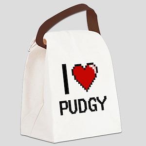 I Love Pudgy Digital Design Canvas Lunch Bag
