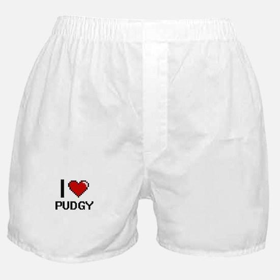 I Love Pudgy Digital Design Boxer Shorts