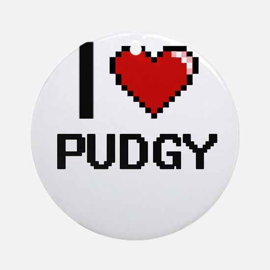 I Love Pudgy Digital Design Round Ornament