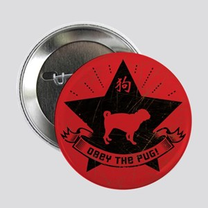 Obey the Pug! Logo Vintage Button