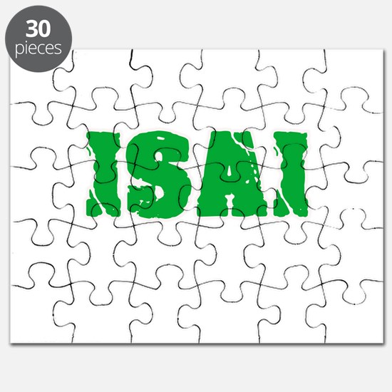 Isai Name Weathered Green Design Puzzle