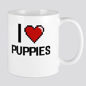I Love Puppies Digital Design Mugs