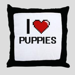 I Love Puppies Digital Design Throw Pillow