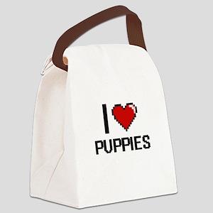 I Love Puppies Digital Design Canvas Lunch Bag