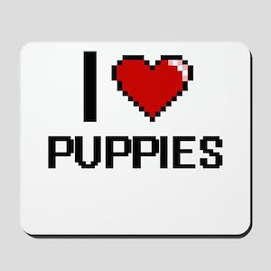 I Love Puppies Digital Design Mousepad