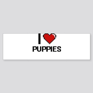 I Love Puppies Digital Design Bumper Sticker