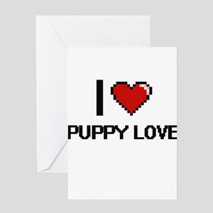 I Love Puppy Love Digital Design Greeting Cards