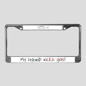 Hybrid Car Kicks Gas License Plate Frame