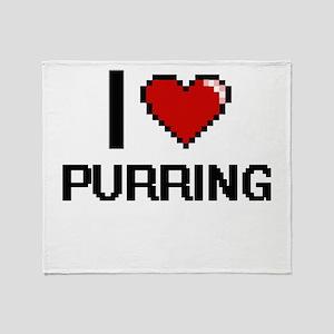 I Love Purring Digital Design Throw Blanket