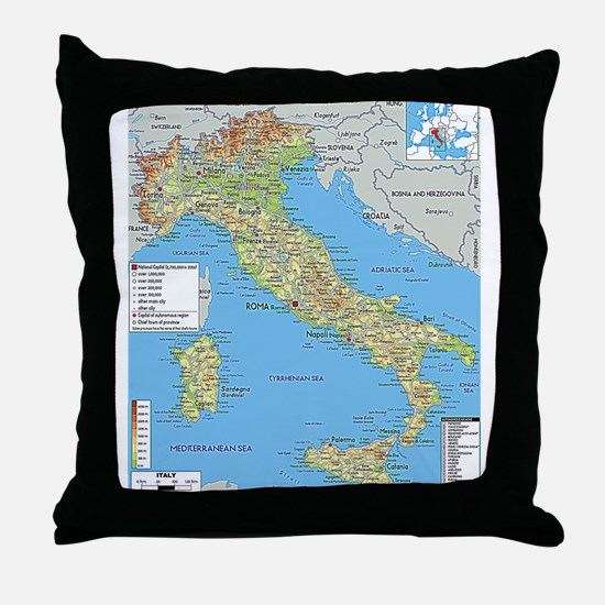 Map of Italy Throw Pillow