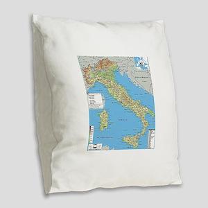 Map of Italy Burlap Throw Pillow