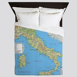 Map of Italy Queen Duvet