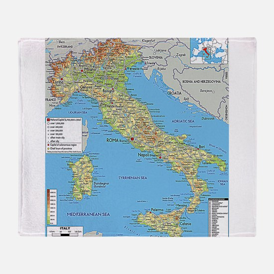 Map of Italy Throw Blanket