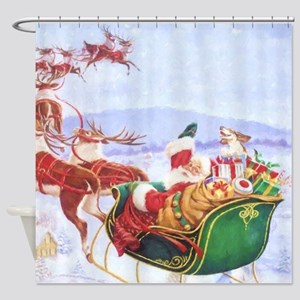 Santa with the sleigh Shower Curtain