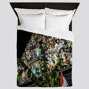 Chinatown Hindu Temple at Night Queen Duvet