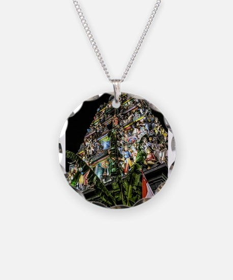 Chinatown Hindu Temple at Night Necklace