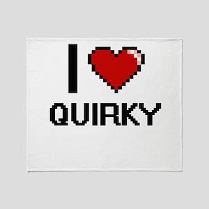 I Love Quirky Digital Design Throw Blanket