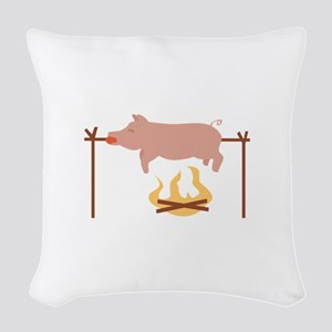 Pig Roast Woven Throw Pillow