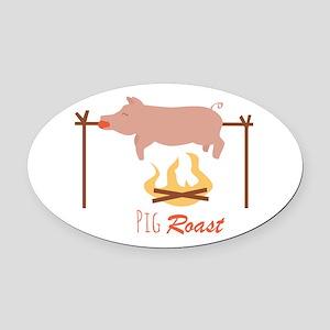 Pig Roast Oval Car Magnet