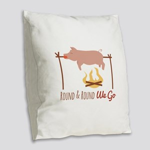Round We Go Burlap Throw Pillow