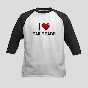 I Love Railroads Digital Design Baseball Jersey