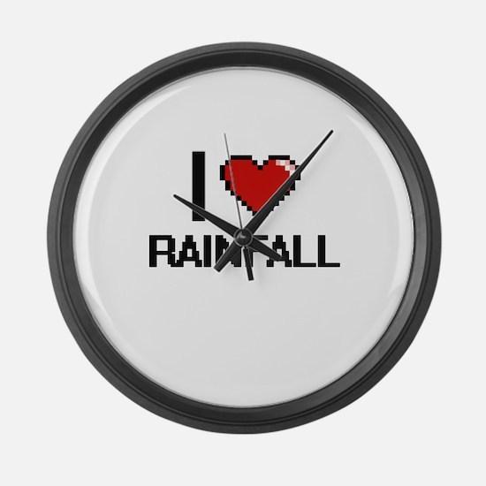 I Love Rainfall Digital Design Large Wall Clock