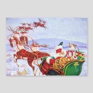 Santa with the sleigh 5'x7'Area Rug