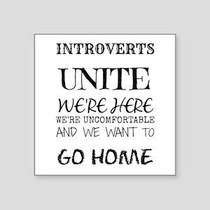Introverts Unite Black Sticker