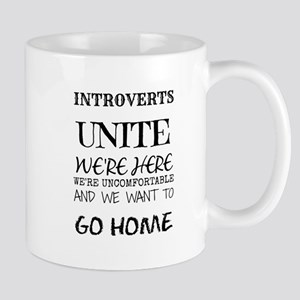 Introverts Unite Black Mugs