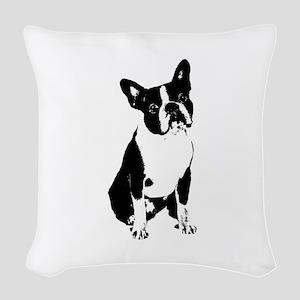 Boston Terrier Black and White 1 Woven Throw Pillo