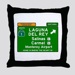 HIGHWAY 1 SIGN - CALIFORNIA - CARMEL Throw Pillow