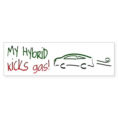 Hybrid Car Kicks Gas Bumper Sticker