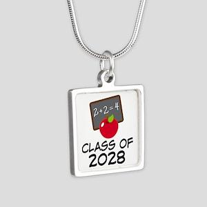 2028 Class Pride Silver Square Necklace