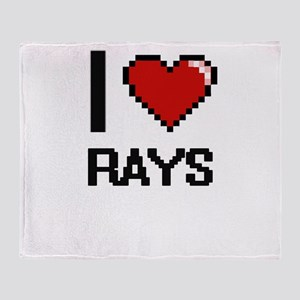 I Love Rays Digital Design Throw Blanket