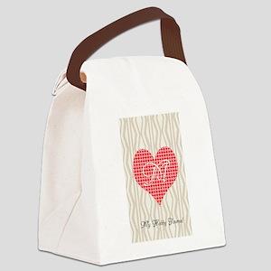 Cute Heart Monogram Canvas Lunch Bag