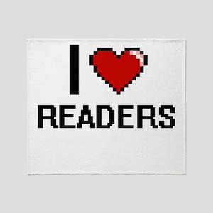 I Love Readers Digital Design Throw Blanket