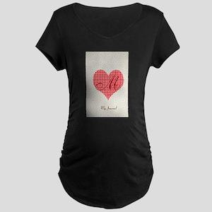 Cute Heart Monogram Maternity Dark T-Shirt