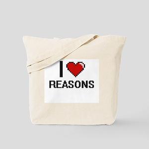 I Love Reasons Digital Design Tote Bag