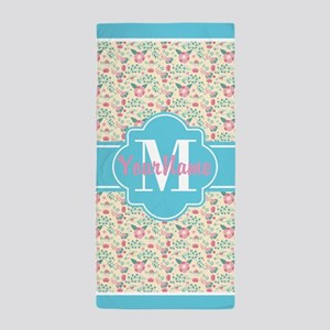 Aqua and Pink Floral Pattern Personali Beach Towel