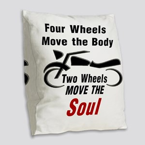 MOTORCYCLE - FOUR WHEELS MOVE  Burlap Throw Pillow
