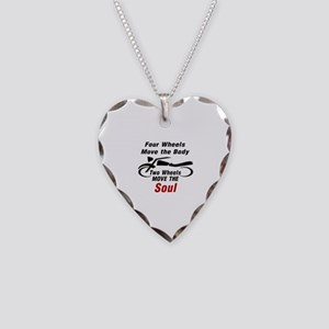 MOTORCYCLE - FOUR WHEELS MOVE Necklace Heart Charm