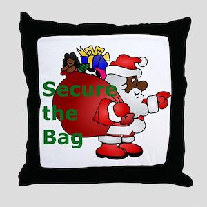 secure the bag santa Throw Pillow
