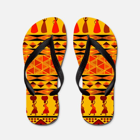African Traditional Ornament Flip Flops