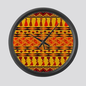 African Traditional Ornament Large Wall Clock