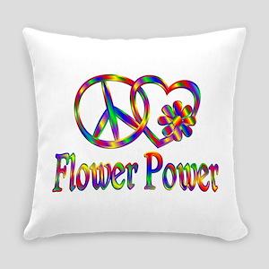 Peace Love Flower Power Everyday Pillow