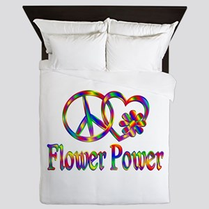 Peace Love Flower Power Queen Duvet