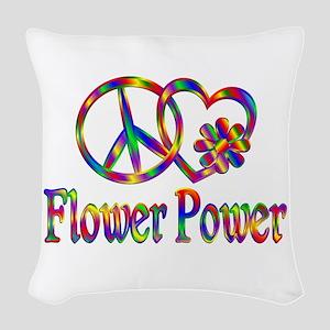 Peace Love Flower Power Woven Throw Pillow
