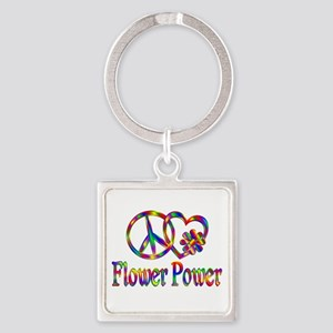 Peace Love Flower Power Square Keychain