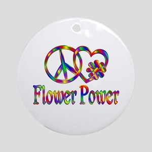 Peace Love Flower Power Round Ornament