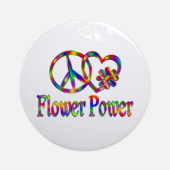 Peace Love Flower Power Round Ornament